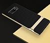 Rock Royce Samsung Galaxy Note 8 Dark Silver Metalik Kenarlı Siyah Silikon Kılıf - Resim 1