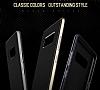 Rock Royce Samsung Galaxy Note 8 Dark Silver Metalik Kenarlı Siyah Silikon Kılıf - Resim 3