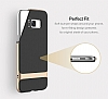 Rock Royce Samsung Galaxy S8 Dark Silver Metalik Kenarlı Siyah Silikon Kılıf - Resim 14
