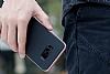 Rock Royce Samsung Galaxy S8 Dark Silver Metalik Kenarlı Siyah Silikon Kılıf - Resim 1