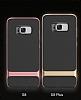 Rock Royce Samsung Galaxy S8 Dark Silver Metalik Kenarlı Siyah Silikon Kılıf - Resim 17