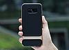 Rock Royce Samsung Galaxy S8 Plus Dark Silver Metalik Kenarlı Siyah Silikon Kılıf - Resim 2