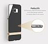 Rock Royce Samsung Galaxy S8 Plus Dark Silver Metalik Kenarlı Siyah Silikon Kılıf - Resim 14