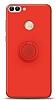 Eiroo Ring Color Huawei P Smart Yüzük Tutuculu Kırmızı Silikon Kılıf
