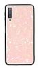 Samsung Galaxy A7 2018 Desenli Silikon Kenarlı Pembe Rubber Kılıf