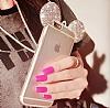 Samsung Galaxy A8 Taşlı Kulaklı Silver Silikon Kılıf - Resim 2
