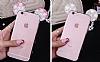 Samsung Galaxy A8 Taşlı Kulaklı Silver Silikon Kılıf - Resim 6