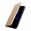 Samsung Galaxy C9 Pro Cüzdanlı Yan Kapaklı Gold Deri Kılıf - Resim 1
