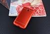 Samsung Galaxy J3 2017 Silikon Kenarlı Metal Kırmızı Kılıf - Resim 2