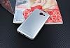 Samsung Galaxy J7 Max Silikon Kenarlı Metal Silver Kılıf - Resim 2