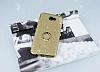 Samsung Galaxy J7 Prime Selfie Yüzüklü Simli Gold Silikon Kılıf - Resim 1