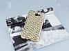 Samsung Galaxy J7 Prime Simli Kumaş Gold Silikon Kılıf - Resim 1