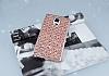 Samsung Galaxy Note 4 Simli Kumaş Rose Gold Silikon Kılıf - Resim 1