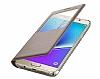 Samsung Galaxy Note 5 Orjinal Pencereli View Cover Gold Kılıf - Resim 2
