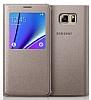 Samsung Galaxy Note 5 Orjinal Pencereli View Cover Gold Kılıf - Resim 1