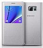 Samsung Galaxy Note 5 Orjinal Pencereli View Cover Silver Kılıf - Resim 1