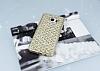 Samsung Galaxy Note 5 Simli Kumaş Gold Silikon Kılıf - Resim 1