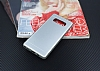 Samsung Galaxy Note 8 Silikon Kenarlı Metal Silver Kılıf - Resim 2