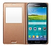 Samsung Galaxy S5 Orjinal Pencereli S View Cover Gold Kılıf - Resim 2