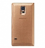 Samsung Galaxy S5 Orjinal Pencereli S View Cover Gold Kılıf - Resim 1