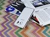 Eiroo Breza Samsung Galaxy S6 Edge Silver Metal Kenarlı Şeffaf Rubber Kılıf - Resim 2