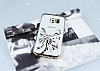 Samsung Galaxy S6 Edge Gold Peacock Taşlı Şeffaf Silikon Kılıf - Resim 2