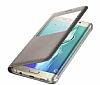 Samsung Galaxy S6 Edge Plus Orjinal Pencereli View Cover Gold Kılıf - Resim 3