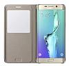 Samsung Galaxy S6 Edge Plus Orjinal Pencereli View Cover Gold Kılıf - Resim 2