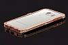 Samsung Galaxy S6 Edge Taşlı Bumper Çerçeve Rose Gold Kılıf - Resim 4