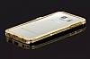 Samsung Galaxy S6 Edge Taşlı Bumper Çerçeve Gold Kılıf - Resim 4