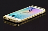 Samsung Galaxy S6 Edge Taşlı Bumper Çerçeve Gold Kılıf - Resim 5
