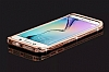 Samsung Galaxy S6 Edge Taşlı Bumper Çerçeve Rose Gold Kılıf - Resim 5