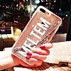 Samsung Galaxy S7 Edge Kişiye Özel Simli Sulu Mor Rubber Kılıf - Resim 1