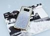 Samsung Galaxy S8 Beyaz Kenarlı Simli Mavi Silikon Kılıf - Resim 2