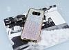 Samsung Galaxy S8 Pembe Kenarlı Pembe Simli Silikon Kılıf - Resim 2