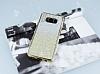 Samsung Galaxy S8 Beyaz Kenarlı Simli Sarı Silikon Kılıf - Resim 2
