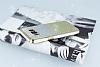 Samsung Galaxy S8 Beyaz Kenarlı Simli Sarı Silikon Kılıf - Resim 1