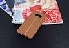 Samsung Galaxy S8 Kadife Dokulu Kahverengi Silikon Kılıf - Resim 1