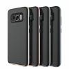 Eiroo Carbon Hybrid Samsung Galaxy S8 Silver Kenarlı Karbon Siyah Silikon Kılıf - Resim 2