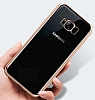 Samsung Galaxy S8 Gold Kenarlı Şeffaf Silikon Kılıf - Resim 1