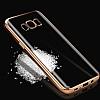 Samsung Galaxy S8 Gold Kenarlı Şeffaf Silikon Kılıf - Resim 2