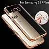 Samsung Galaxy S8 Gold Kenarlı Şeffaf Silikon Kılıf - Resim 3