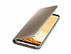 Samsung Galaxy S8 Orjinal Clear View Uyku Modlu Standlı Kapaklı Gold Kılıf - Resim 4