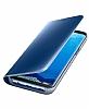 Samsung Galaxy S8 Orjinal Clear View Uyku Modlu Standlı Kapaklı Mavi Kılıf - Resim 4