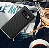 Eiroo Carbon Hybrid Samsung Galaxy S8 Plus Gold Kenarlı Karbon Siyah Silikon Kılıf - Resim 1
