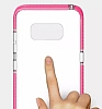 Samsung Galaxy S8 Plus Pembe Kenarlı Şeffaf Silikon Kılıf - Resim 1