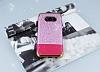 Samsung Galaxy S8 Plus Simli Deri Pembe Silikon Kılıf - Resim 1