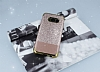 Samsung Galaxy S8 Plus Simli Deri Rose Gold Silikon Kılıf - Resim 1