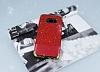 Samsung Galaxy S8 Simli Deri Kırmızı Silikon Kılıf - Resim 1