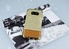 Samsung Galaxy S8 Simli Deri Gold Silikon Kılıf - Resim 1